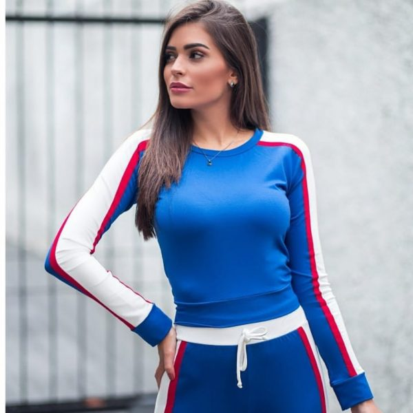 Conjunto Moletinho Sport Azul Off White E Vermelho