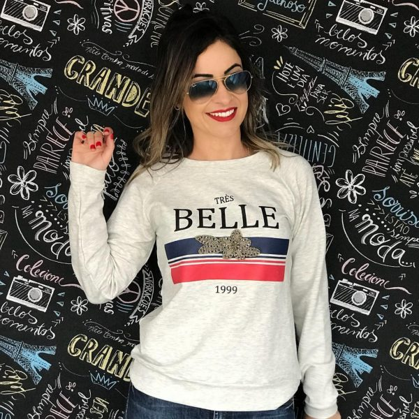 Moletom Belle Mescla Claro Com Aplicações