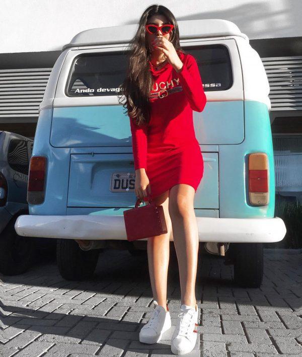 Vestido Moletom GUCHY Vermelho