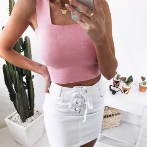Saia Jeans Transpassada White