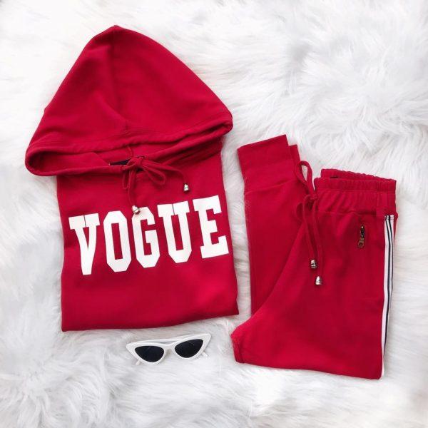 Conjunto Moletom Cropped Vogue Vermelho Faixa Branca e Preta