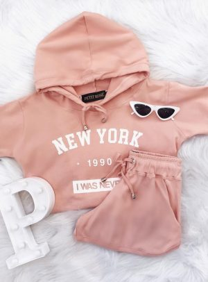 Conjunto Moletom Cropped New York Rosinha