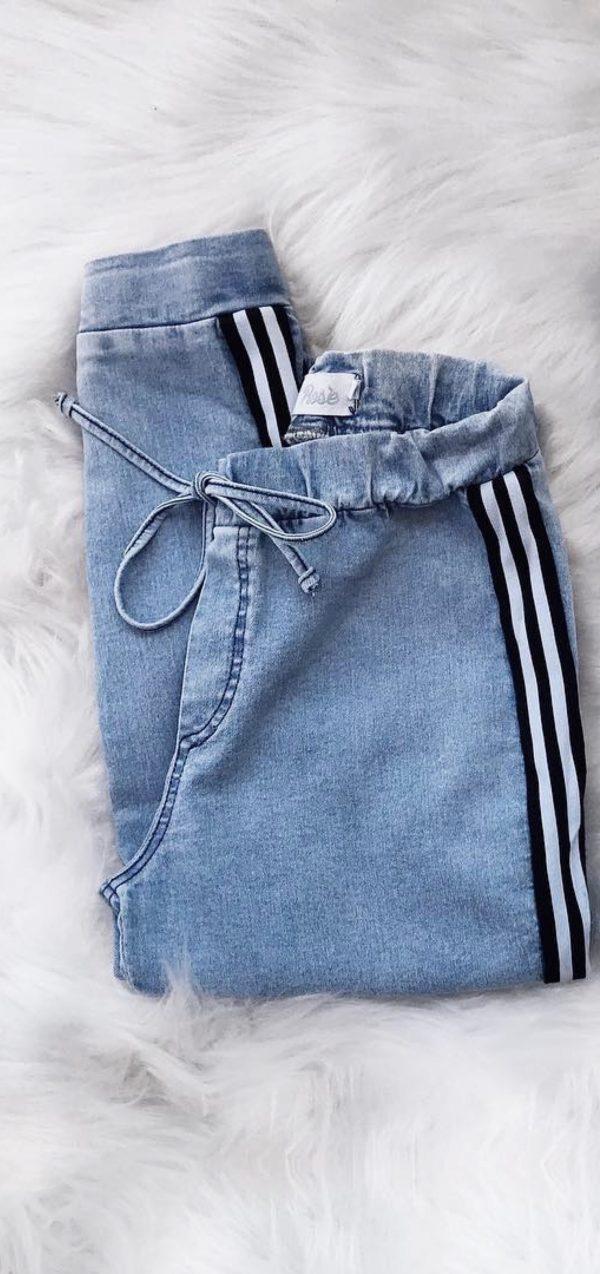 Jogger Jeans Faixa P&B