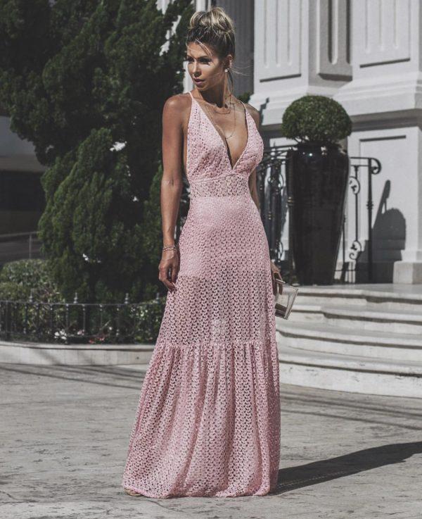 Vestido Longo de Renda Martha Rosa Quartzo