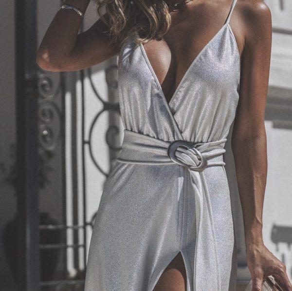 Vestido Longo Metalizado Audrey Prata
