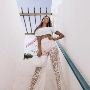 Calça Pantalona Renda Localizada Com Hot Pants Branca