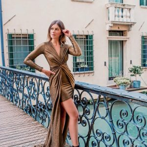 Vestido Natana Lurex Dourado