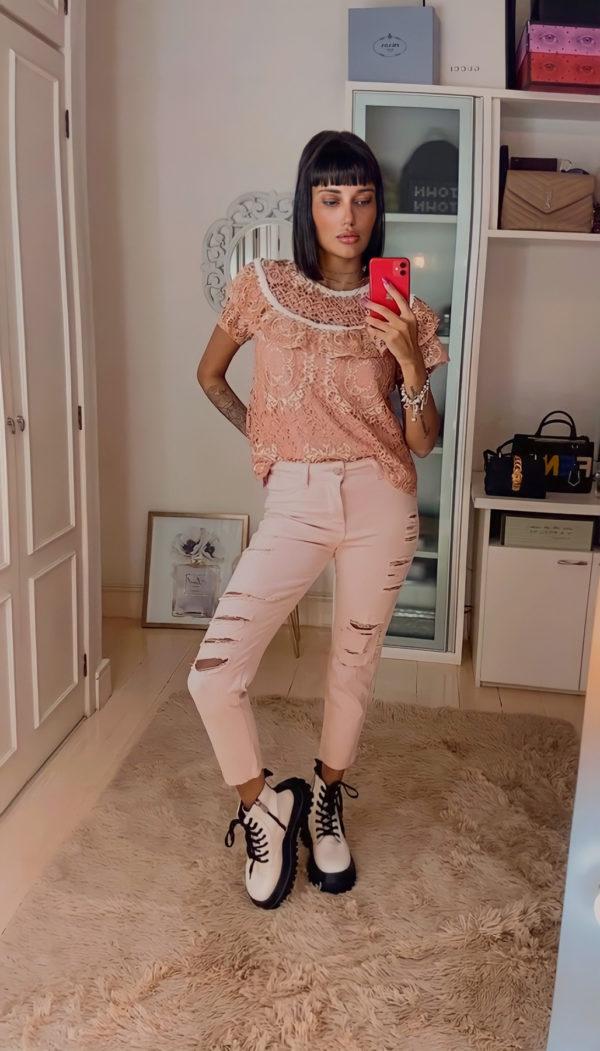 Calça Jeans Destroyed Rosé