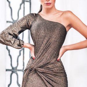 Vestido Marjorie Lurex Dourado