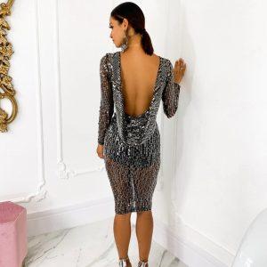 Vestido Érika Em Paetê Preto