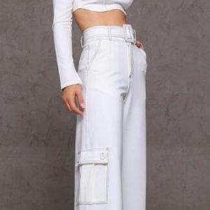 Calça Pantalona De Malha Pesponto Branca