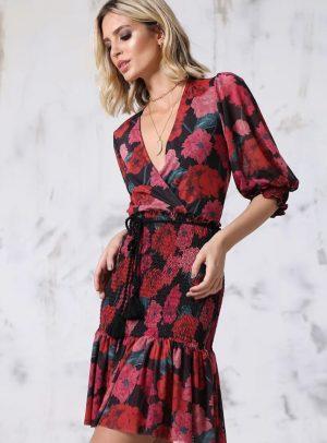 Vestido De Tule Floral Vermelho