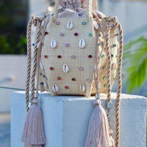 Bucket Bag Kiki Búzios E Cristais Coloridos Alternados