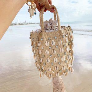 Bucket Bag Kiki Búzios E Cristais Transparentes Tassel
