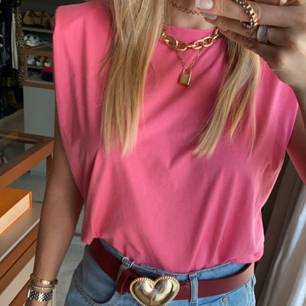Muscle Tee Com Ombreiras Rosa Chiclete