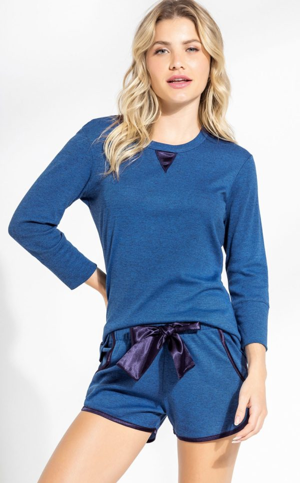 Pijama Blusa Manga Longa com Short Azul
