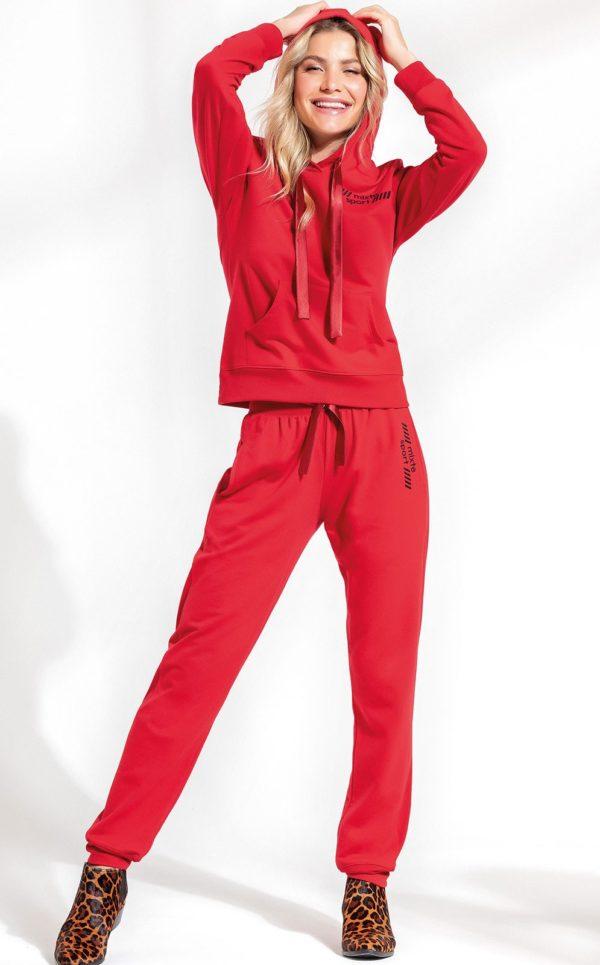 Pijama Blusa Manga Longa com Capuz e Calça Vermelho