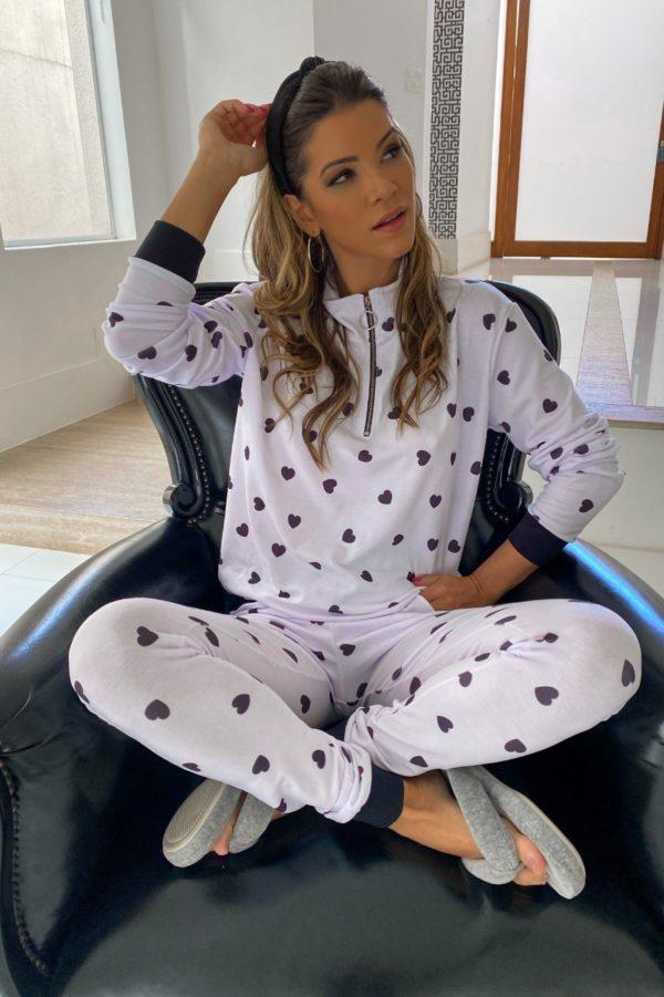 Pijama Lolah Hearts Branco E Preto