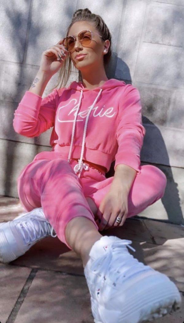 Conjunto Moletom Plush Cropped Cherie Rosa