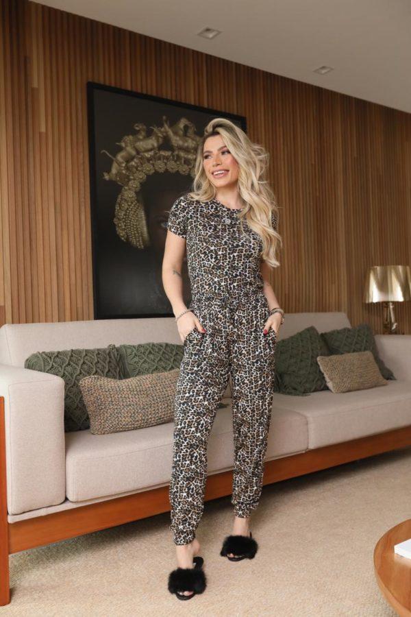 Pijama Onça Blusa E Calça