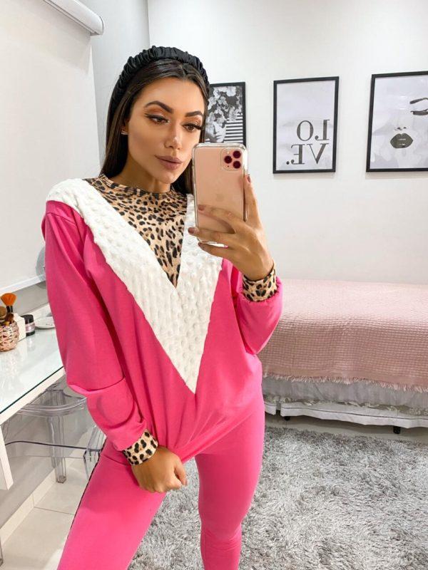 Pijama Good Vibes Pink Off E Animal Print