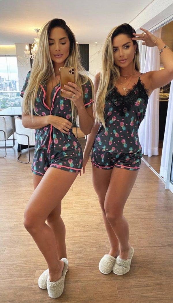 Pijama Abacaxi Com Renda