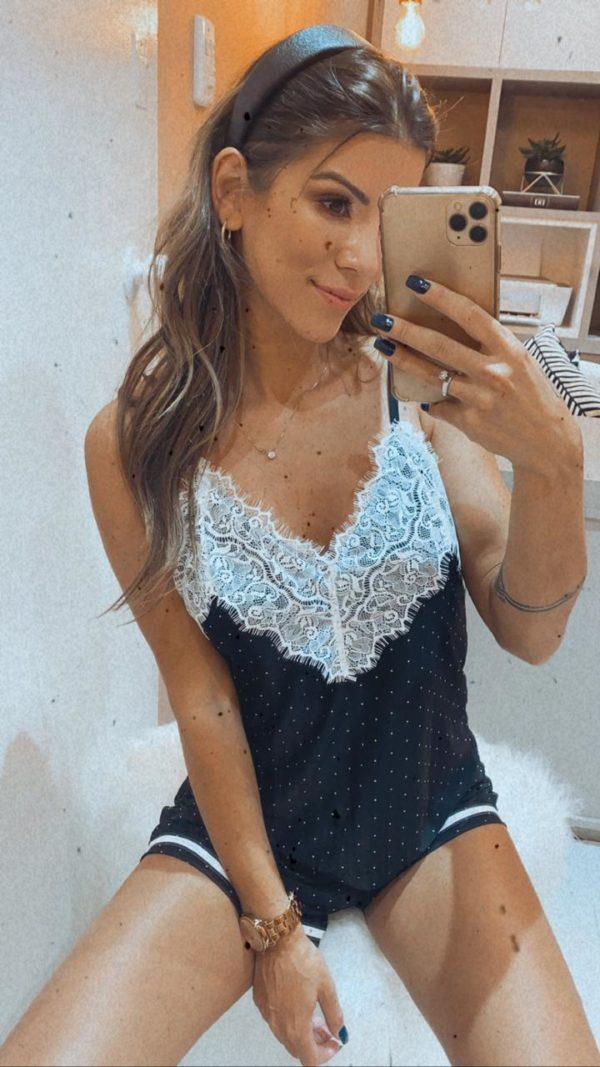 Pijama Poázinhos Com Renda