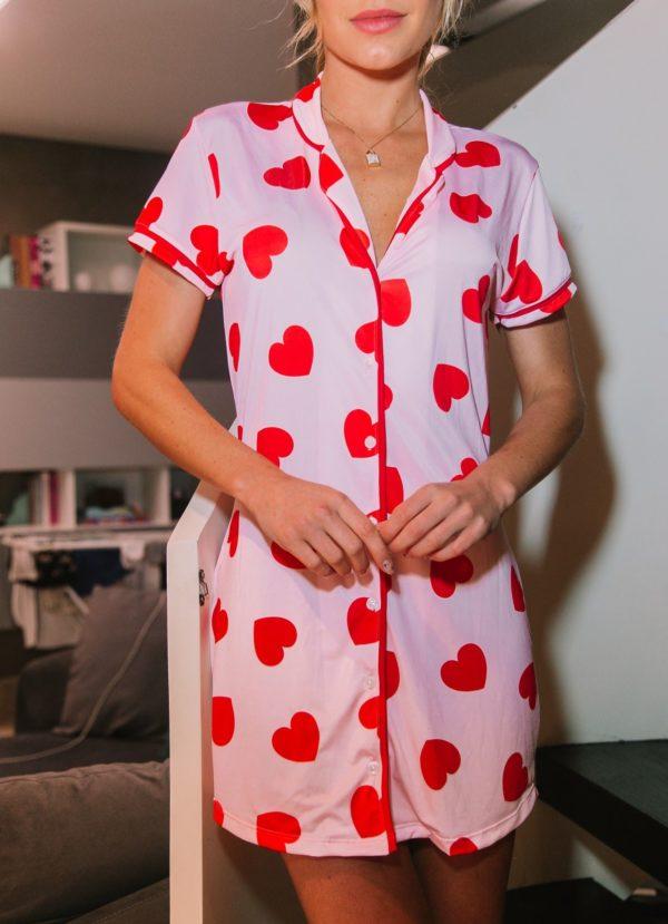 Pijama Camisola Rosinha Hearts Vermelhos