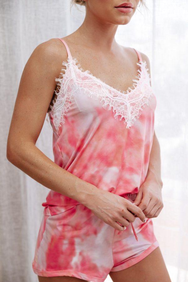 Pijama Tie Dye Rosa Com Renda