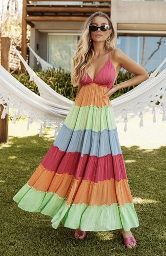 Vestido Stripe Foil Color