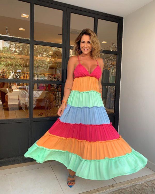 Vestido Stripe Foil Color