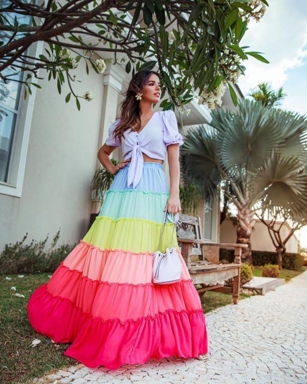 Vestido Colorful Com Botões