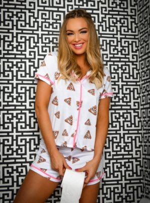 Pijama Emoji Com Detalhe Pink Versão Short