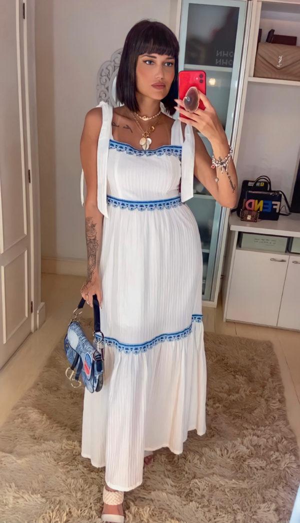 Vestido Longo Color Aviamentos Off E Azul