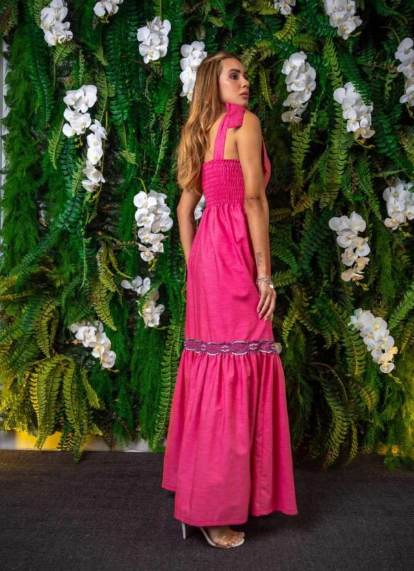 Vestido Longo Color Aviamentos Rosa