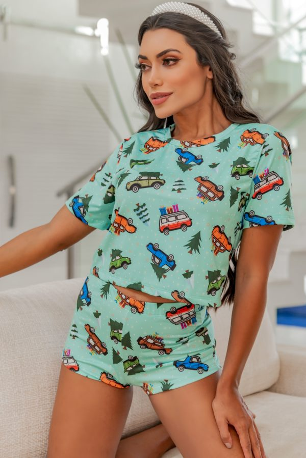 Pijama Cars Versão Hot Pants