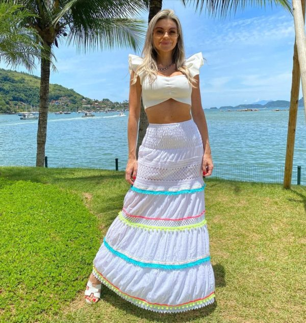 Saia Boho Beach Floral Com Off White