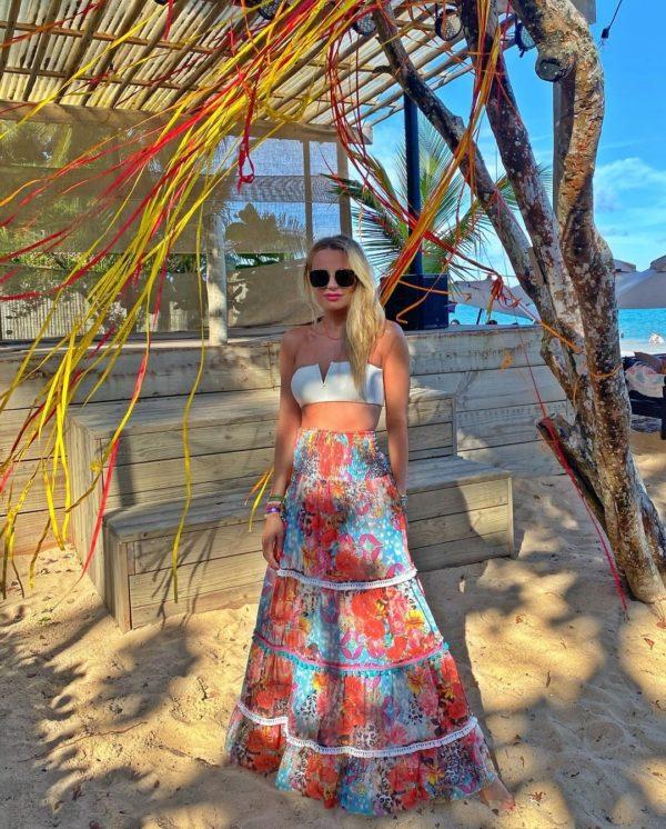 Saia Boho Beach Floral Com Laranja
