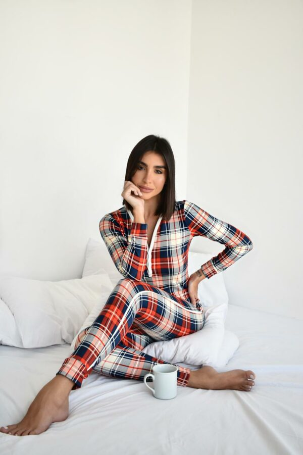 Pijama Xadrez Com Vermelho Versão Calça