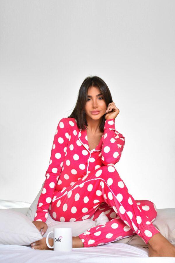 Pijama Pink Bolas Brancas Versão Calça