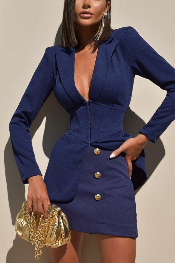 Blazer Com Corset Nancy Azul Marinho