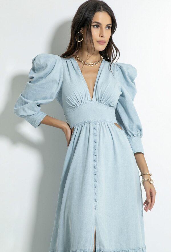 Vestido Jeans Lomas Lavagem Clara