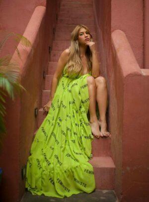 Vestido Longo Com Escritos Verde